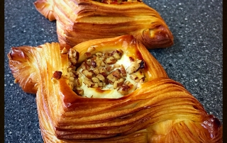 Croissant dough filled with Figs & Goat Cheese and a mix Peppers option